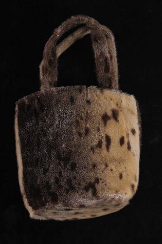 Garay, Rayon Seal Hide Hand Purse c. 1970's
