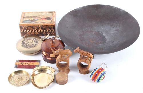 World Travel Momentos Of Wood Bead Steel & Brass