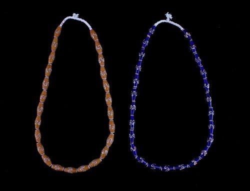 Venetian Fancy Heart Trade Bead Necklaces c 19th C