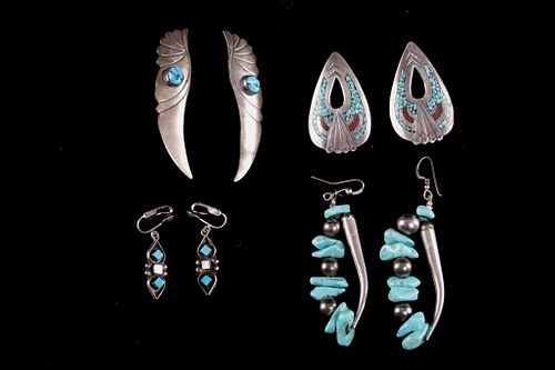 Navajo Sterling Silver & Turquoise Earring Set (4)