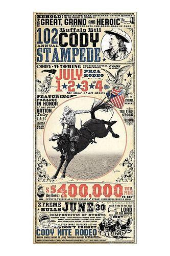 Buffalo Bill Cody Stampede Rodeo Poster -C. Walker