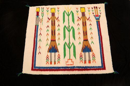 Navajo Female Yei Be Chei Corn People Rug 1930