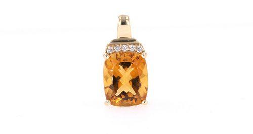 Outstanding Citrine Diamond 14k Gold Pendant