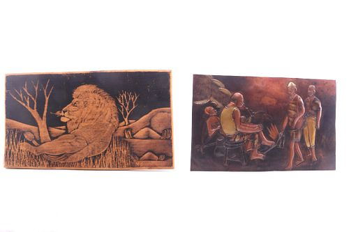 African Copper & Wood Burning Folk Art Pictures
