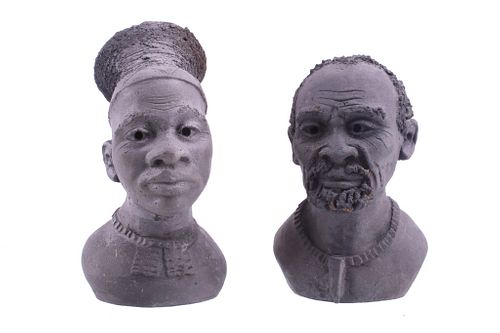 1989-99 Black Clay African Man & Woman Bust