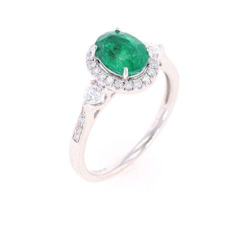 Natural Emerald Diamond & 18k White Gold Ring