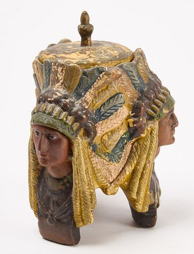 Humidor Figure with Indian Heads