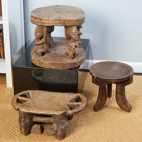Group (3) African carved wood stools