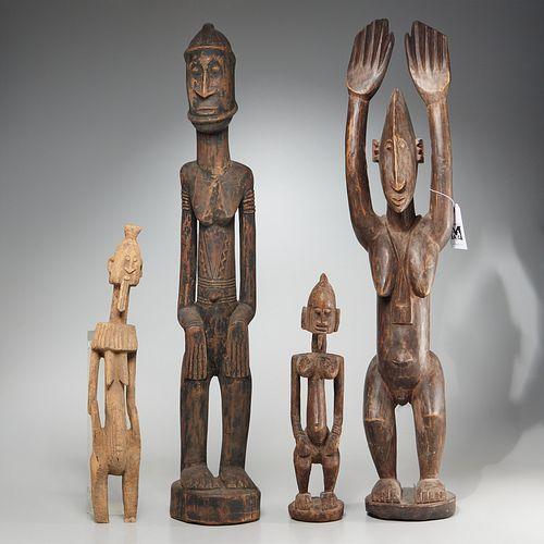 Mali Region, (4) carved wood figures