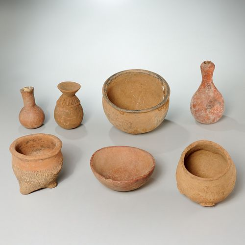 Group (7) small Bura and Djenne terracotta vessels