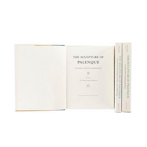 Greene Robertson, Merle. The Sculpture of Palenque. New Jersey: Princeton University Press, 1983.  Piezas: 3.