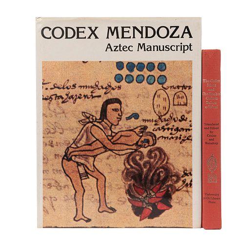 Codex Perez and the Book of Chilam Balam of Mani / Codex Mendoza. Aztec Manuscript.  Piezas: 2.
