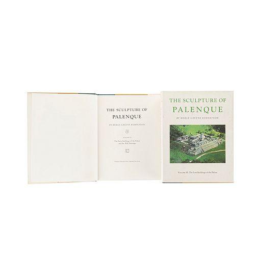 Greene Robertson, Merle. The Sculpture of Palenque. New Jersey: Princeton University Press, 1983.   Piezas: 2.