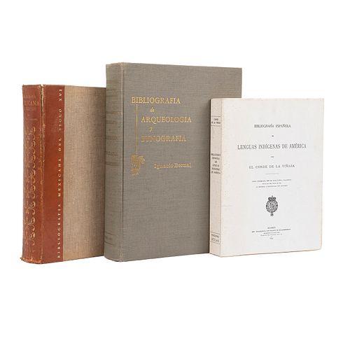 Icazbalceta, José Joaquín / Bernal, Ignacio / El Conde de la Viñaza. Bibliografía Mexicana del Siglo XVI / Bibliografía... Pzs: 3.