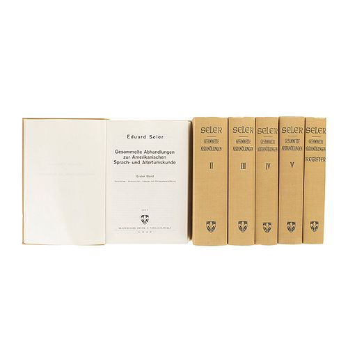 Seler, Eduard / Anders, Ferdinand. Gesammelte Abhandlungen zur Amerikanischen Sprach-und Altertumskunde... 1960-67. Pzs: 6.