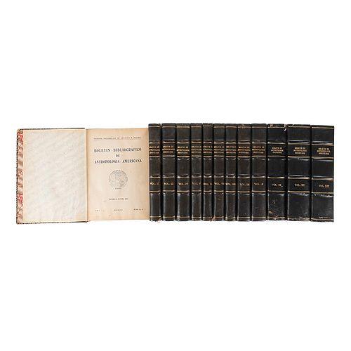 Caso, Antonio (Fundador). Boletín Bibliográfico de Antropología Americana. México, 1937-50. Piezas: 13.