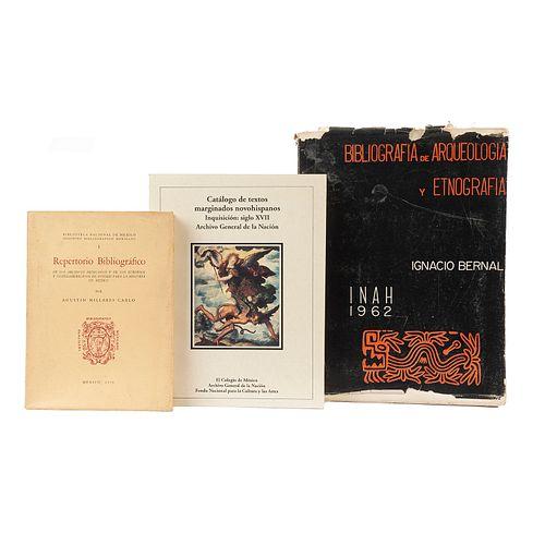 Bernal, Ignacio / Águeda Méndez, María / Millares Carlo, Agustín. Bibliografía de Arqueología y Etnografía... Piezas: 3.