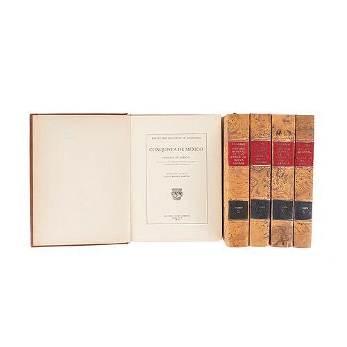 Argensola, Bartolomé Leonardo de / Sahagún, Bernardino de. Conquista de México / Historia General de las Cosas de... Pzs: 5.