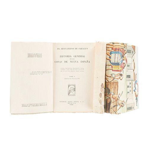 Sahagún, Fray Bernardino de. Historia General de las Cosas de la Nueva España. México: Editorial Nueva España, 1946. Piezas: 3.