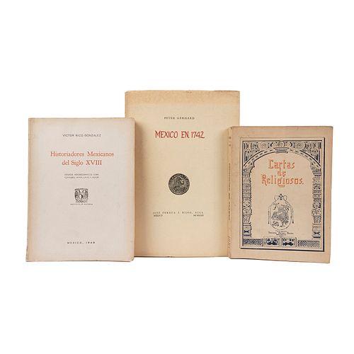 Rico González, Víctor / García Icazbalceta, Joaquín / Gerhard, Peter. Historiadores Mexicanos del Siglo XVIII / Cartas... Piezas: 3.