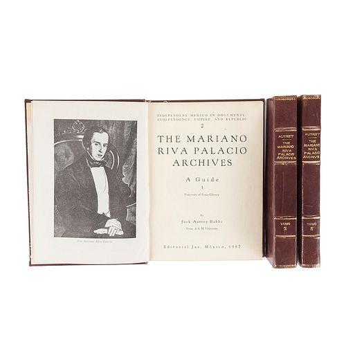 Atrey Dabbs, Jack. The Mariano Riva Palacio Archives. A Guide. México: Editorial Jus, 1967. Edición de 500 ejemplares numerados. 3 Pzs.