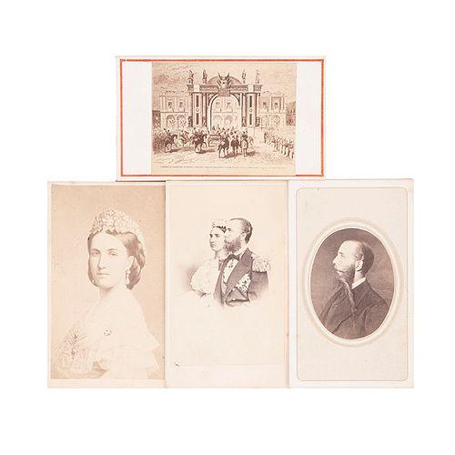 Valleto. Pareja Imperial, Maximiliano y Carlota. México, Segunda mitad del siglo XIX. Tarjeta de Visita. Piezas: 4.