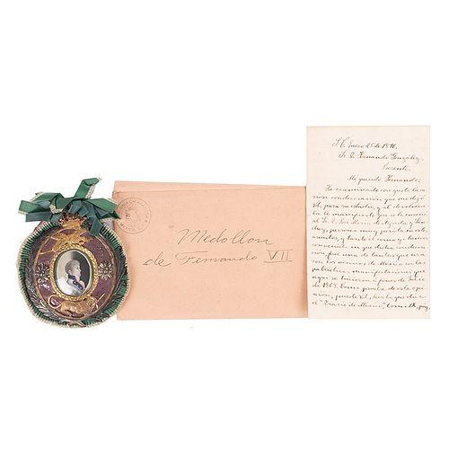 Medallón de la Jura de Fernando VII / Carta de Referencia de Luis González Obregón. 1808. Piezas: 2.
