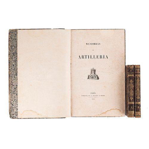 Guzmán, Sebastián / Atlas. Lecciones de Artillería, 7 láminas / Maniobras de Artillería, 94 láminas. México: 1846 y 1848. Piezas: 3.