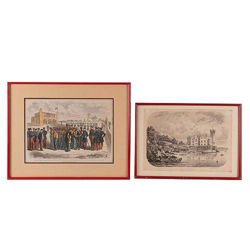 Castro, Casimiro/ Le Monde Illustré. Miramar/ Colección de Grabados de la Intervención Francesa. Litografía y 6 grabados. Piezas: 7.