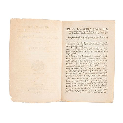Reglamento del Archivo General y Público de la Nación. Guadalajara: Imprenta del Gobierno del Estado, 1846.