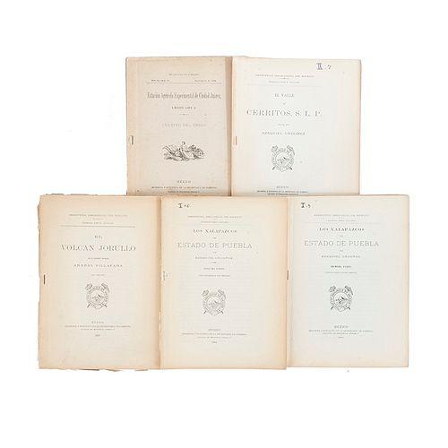 Aguilera, José G. Instituto Geológico de México. Los Xalapazcos del Estado de Puebla, y otros folletos. México: 1907 - 1908. Piezas: 5.