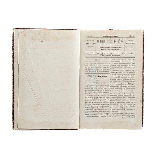 Quesada, Miguel de. El Correo de los Niños. Semanario dedicado a la Infancia Mexicana. México, 1872-73. 24 números en un volumen.