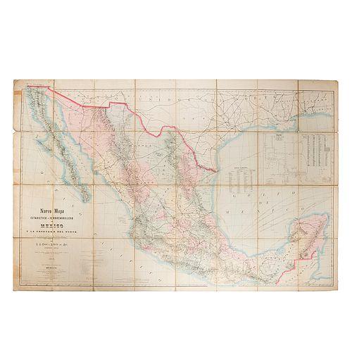 Owen, A. K. -Motz, Alberto. Nuevo Mapa Estadístico y Ferrocarrilero de México y la Frontera del Norte. Philadelphia: 1882. 120 x 185 cm