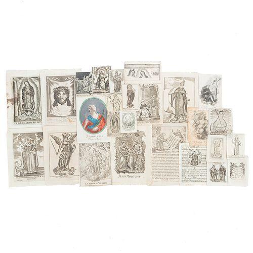 Colección de 25 Grabados Religiosos. Siglo XVIII. Grabados en metal, varios formatos; una lámina coloreada.