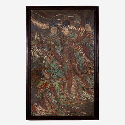 A Large Chinese polychrome stucco fresco panel 灰泥彩绘天女图壁画 Yuan/Ming Dynasty or later 元/明或更晚