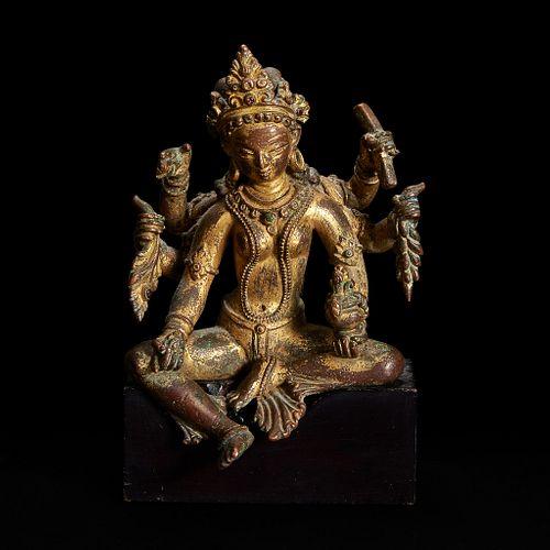A Nepalese gilt copper alloy figure of Vasudhara 尼泊尔持世菩萨鎏金铜造像 12th century or later 十二世纪或更晚