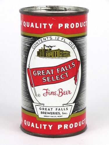 1955 Great Falls Select Beer 12oz Flat Top Can 74-21
