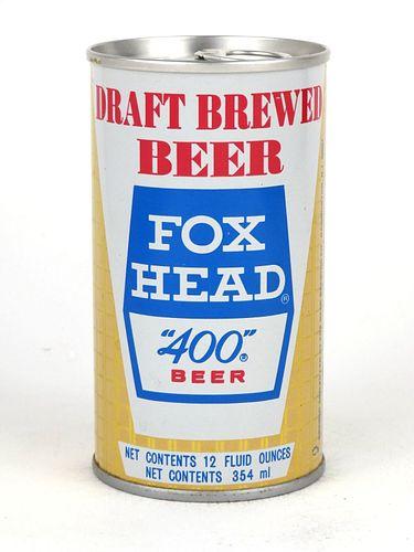 """1974 Fox Head """"400"""" Beer 12oz Tab Top Can T66-07"""