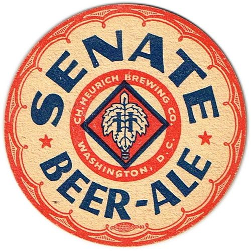 1942 Senate Beer-Ale 4¼ inch coaster Coaster DC-CHR-4