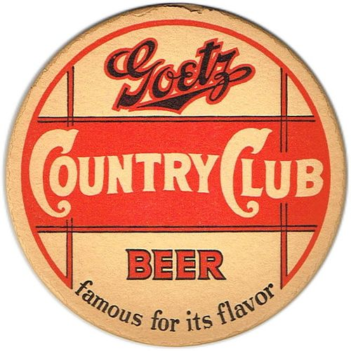 1940 Goetz Country Club Beer 4¼ inch coaster Coaster MO-GOE-8