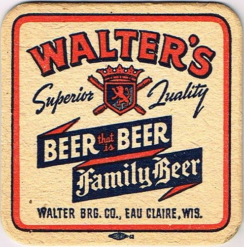 1936 Walter's Family Beer 4¼ inch coaster Coaster WI-WALE-1