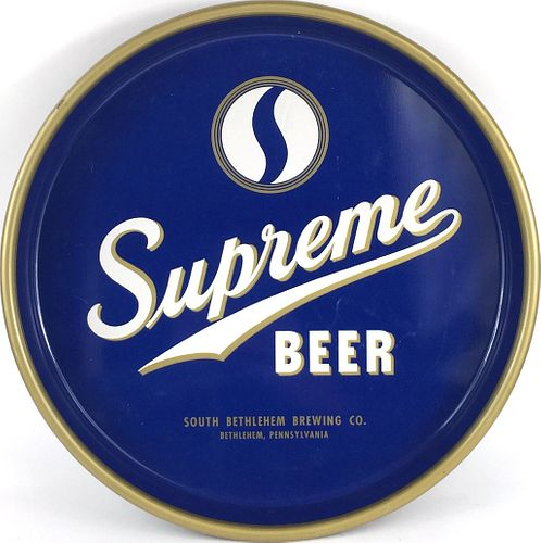 1946 Supreme Beer 13 inch tray Serving Tray