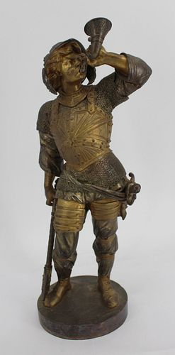 Unsigned Bronze Sculpture Of A Knight Blowing Horn