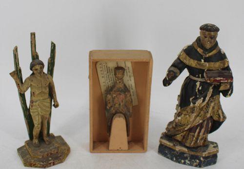 Lot Of 3 Antique Santos Figures .