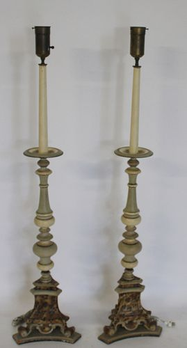 A Pair Of Antique Spricket Style Paint & Carved