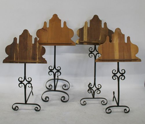 2 Pairs Of Antique Wrought Iron Music Stands.