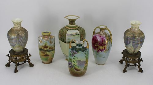Lot Of Japanese Porcelain Vases & A Pair Of Spun