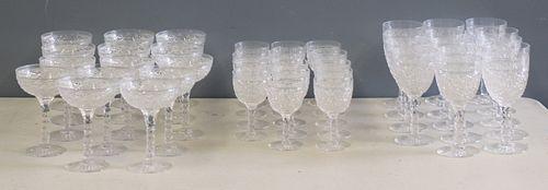 Large Lot Of Tudor Fine Cut Glass Stemware.