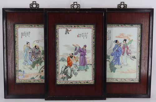 (3) Signed Chinese Enamel Decorated Plaques.