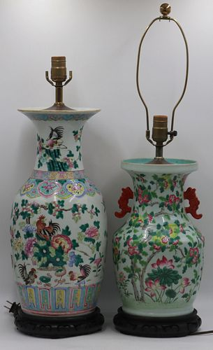 (2) Chinese Famille Rose Vases as Lamps.